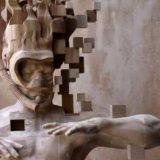 Тайваньский скульптор вырезал пиксельную скульптуру аквалангиста из дерева