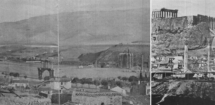 Два фото Афин в 1845 году