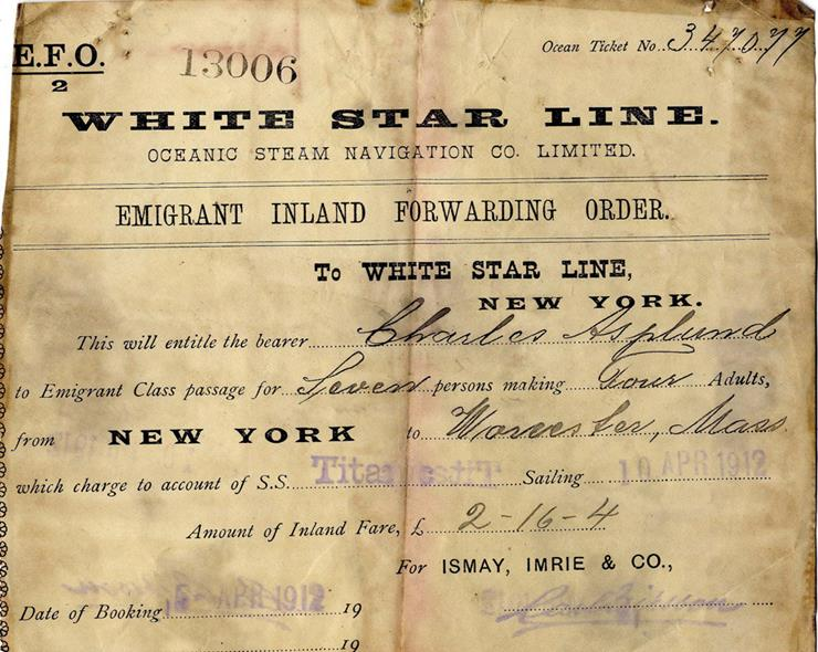 Редкое изображение билета на «Титаник»