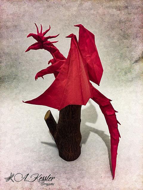 оригами красного дракона