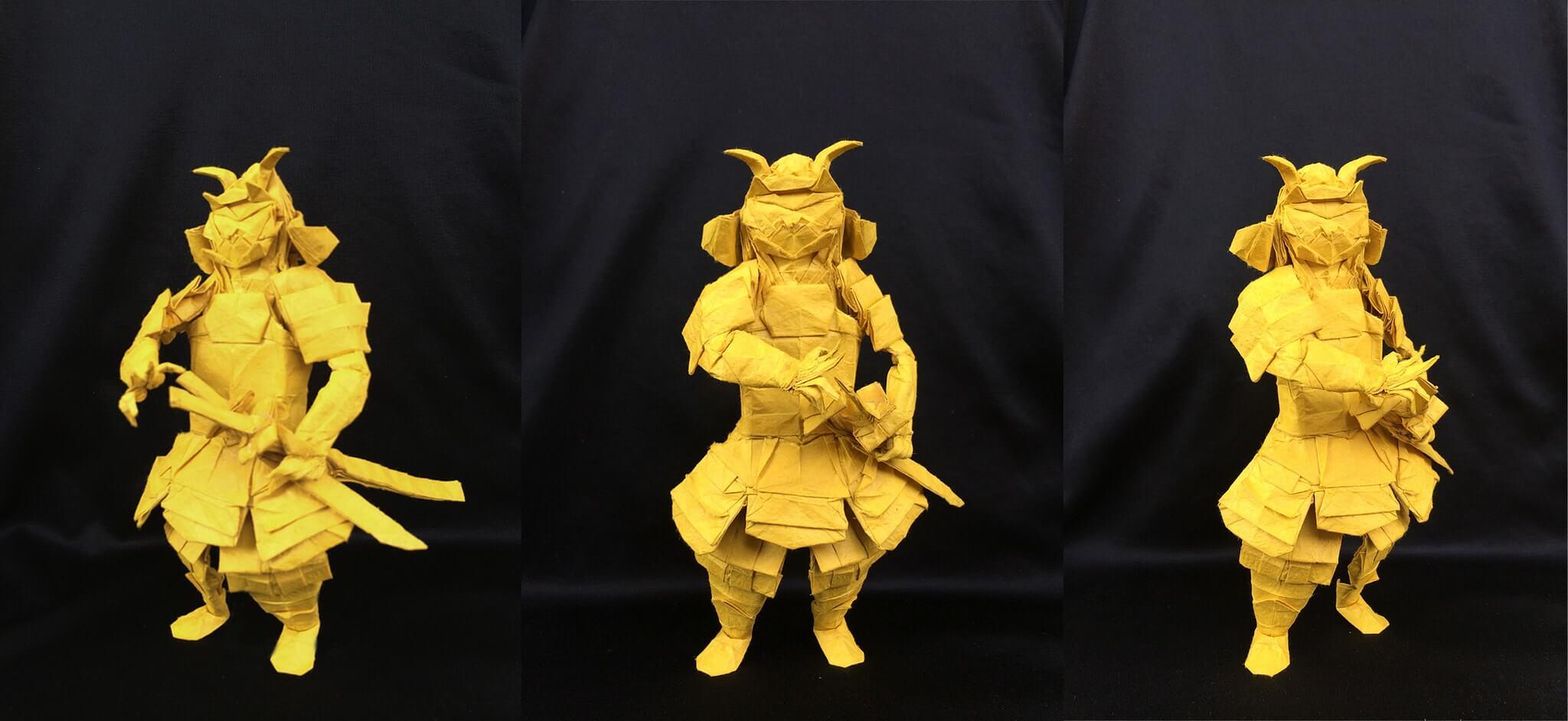 солдат-самурай, в полный экипировке, в желтом цвете