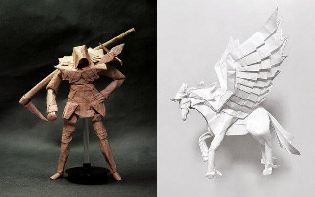 Сложные бумажные фигурки, созданные с помощью искусства Оригами