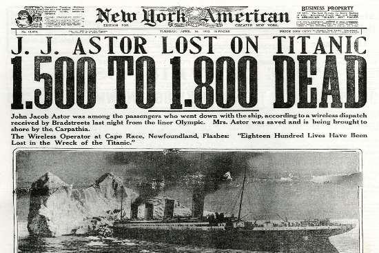 """Лондонская газета """"Дейли мейл"""" заявила, что """"Титаник затонул, выживших нет"""" в первом выпуске 16 апреля, 1912"""