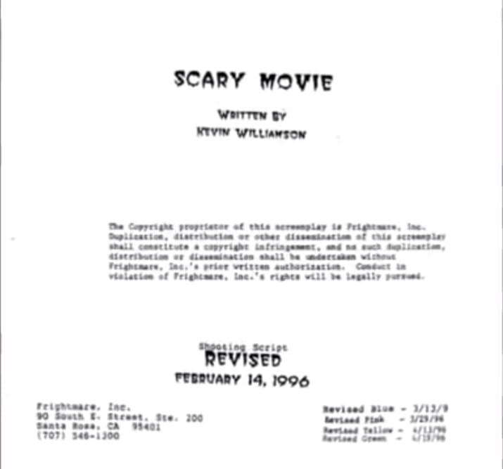 Крик изначально назывался «Страшный фильм»