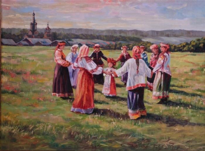 Традиционный русский хоровод.