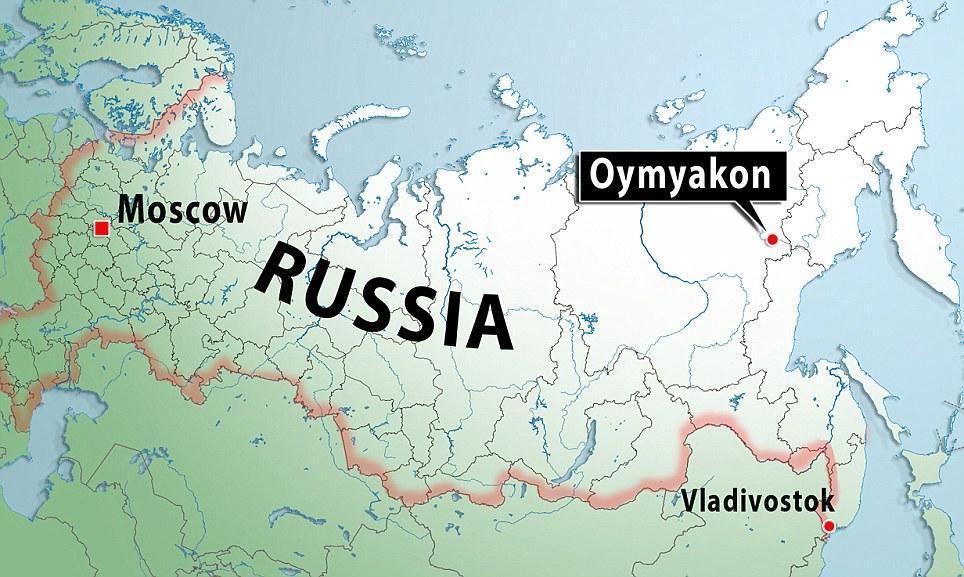 Оймякон на карте Российской Федерации