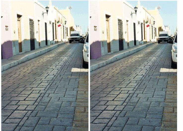 Слева и справа — абсолютно одинаковые фото одной и той же улицы