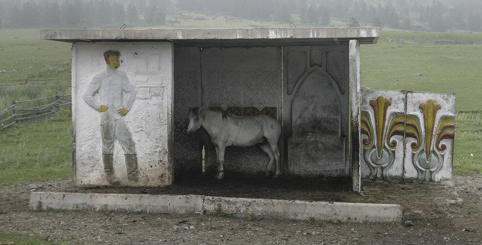 Фотограф: Кристофер Хервиг (Christopher Herwig). Советская автобусная остановка — Казахстан, Алтайские Горы