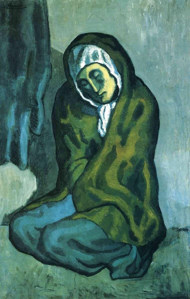 картина Пабло Пикассо «Нищенка, сидящая на корточках»