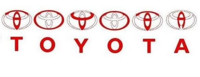 Буквы T, O , Y , O, T, A находятся в пределах эмблемы TOYOTA