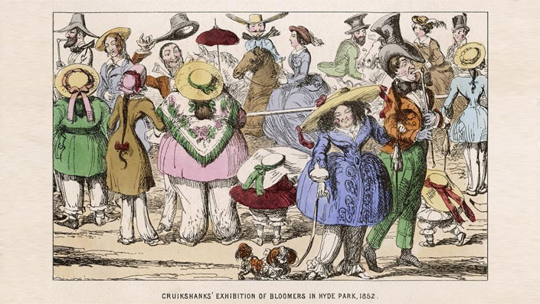Карикатура на женщин в блюмерках, 1852
