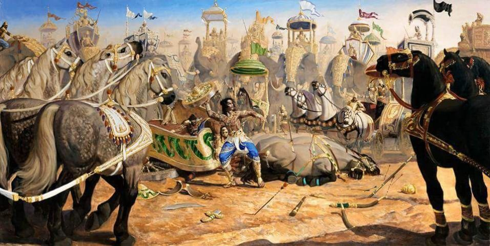 Абхиманью, младший сын Арджуны, бросил колесо в Дрону