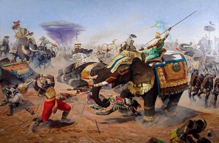 Боевая сцена из великой битвы при Махабхарате