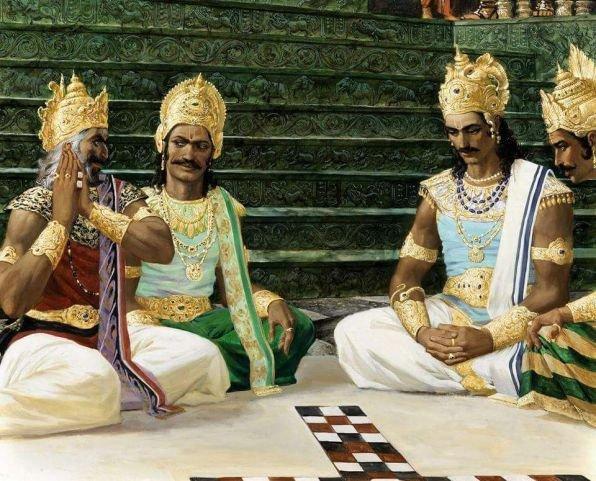 Сцена из игры в кости между Кауравами и Пандавами