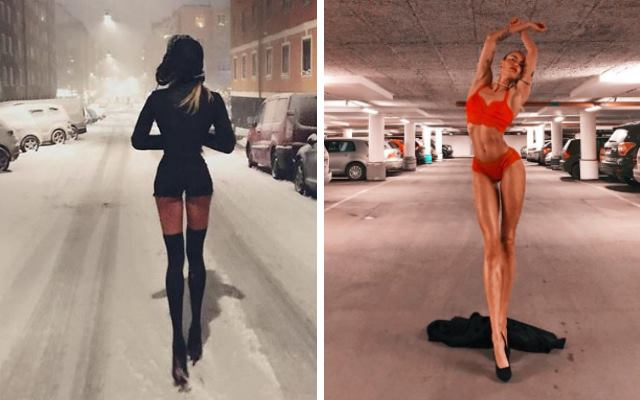 Невероятно длинные ноги этой модели, привлекли к ней массу внимания