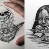 Удивительные миниатюрные иллюстрации, созданные с помощью гелевой ручки и крошечных точек
