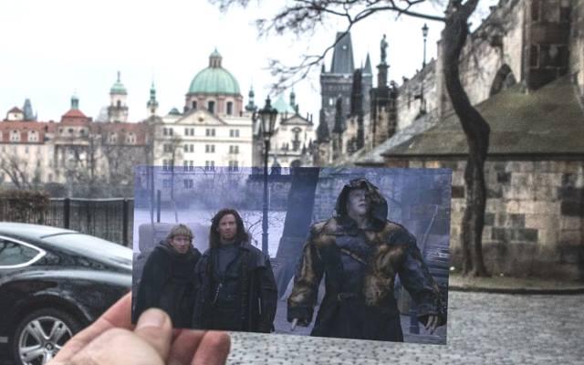кадры из фильмов на фоне тех мест, где они были сняты