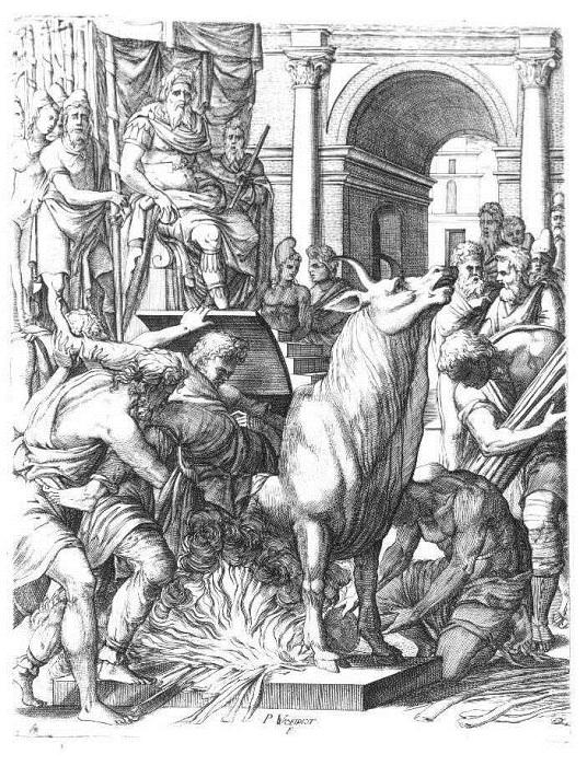 Медный бык, в которого помещали жертву.