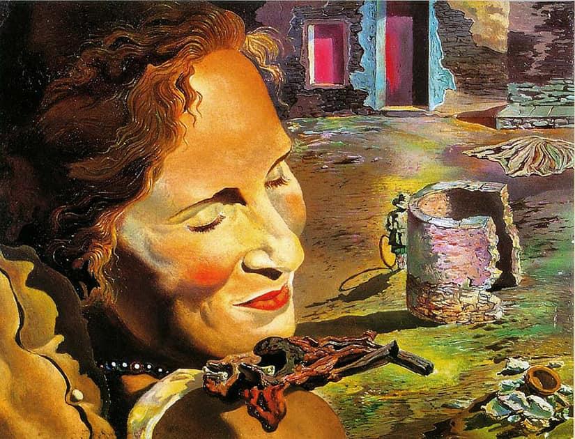 «Портрет Гала с двумя бараньими ребрышками, удерживающими равновесие на ее плече», 1933