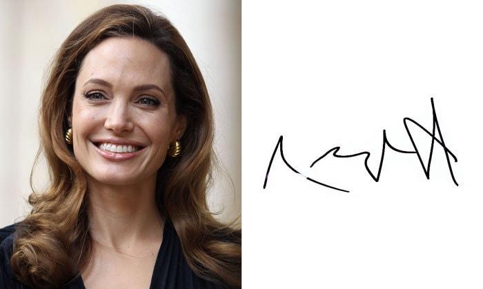 Подпись Анджелина Джоли