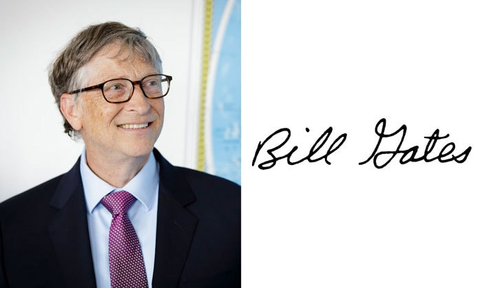 Подпись Билл Гейтс