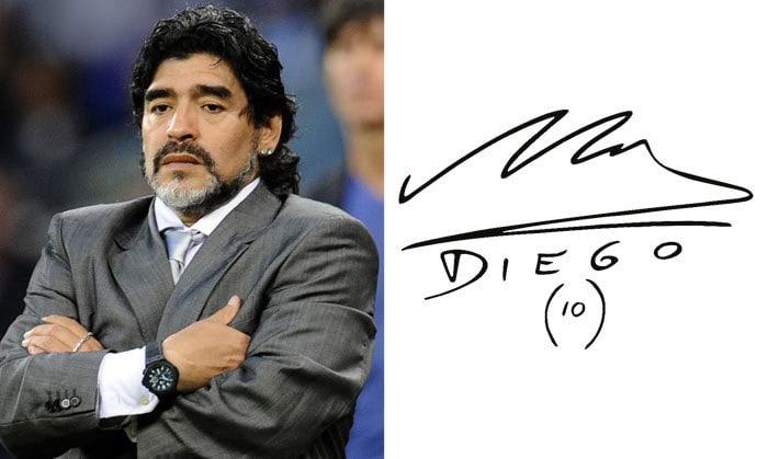 Подпись Диего Марадона
