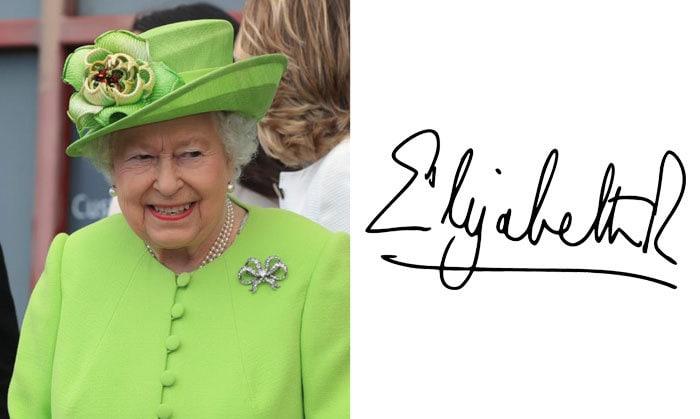 Подпись Елизавета II