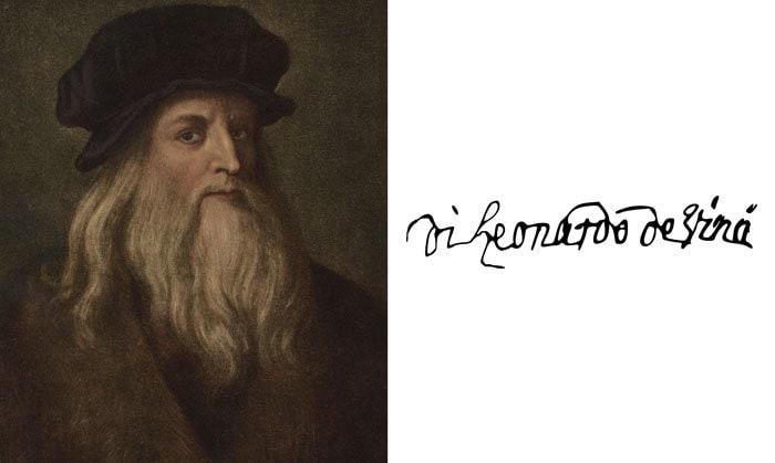 Подпись Леонардо Да Винчи
