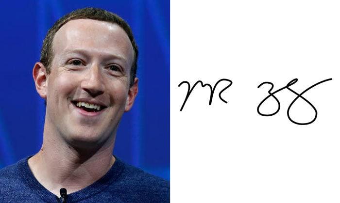Подпись Марк Цукерберг