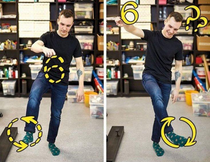 Нарисовать цифру 6, двигая ногой по часовой стрелке