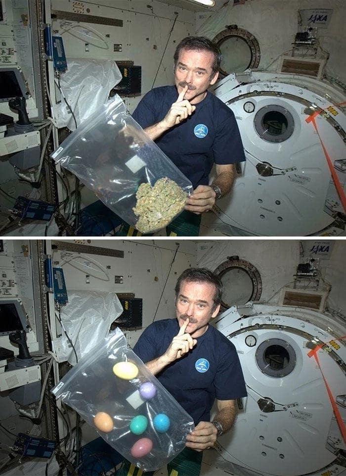 Астронавт курит марихуану в космосе
