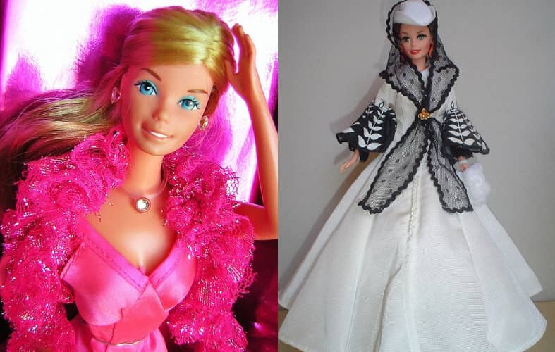 Барби Суперзвезда, 1977 г. и Барби Скарлетт О'Хара Белое Платье, 1994 г.