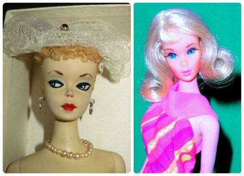 Слева Барби 1959 г., справа Барби 1971 г.