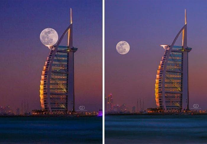 Луна идеально вписывается в небоскреб
