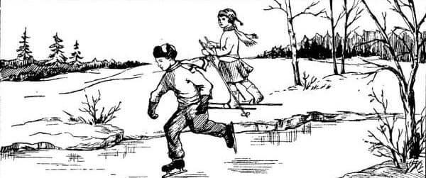 Ребята вышли в лес, чтобы покататься на коньках и на лыжах