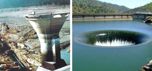 Водосброс озера Берриесса, через сливное отверстие на плотине Монтичелло