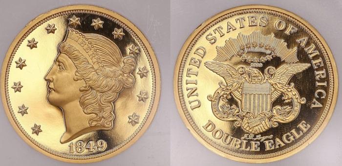 1. 20 долларов с двойным орлом, 1850 год