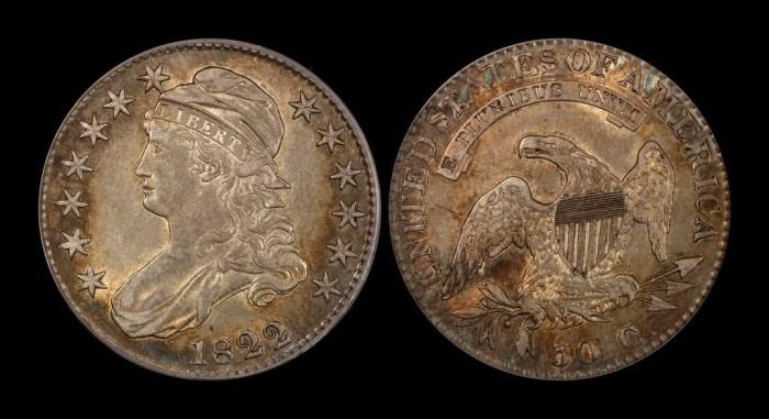5 долларов с половинчатым орлом, 1822 год