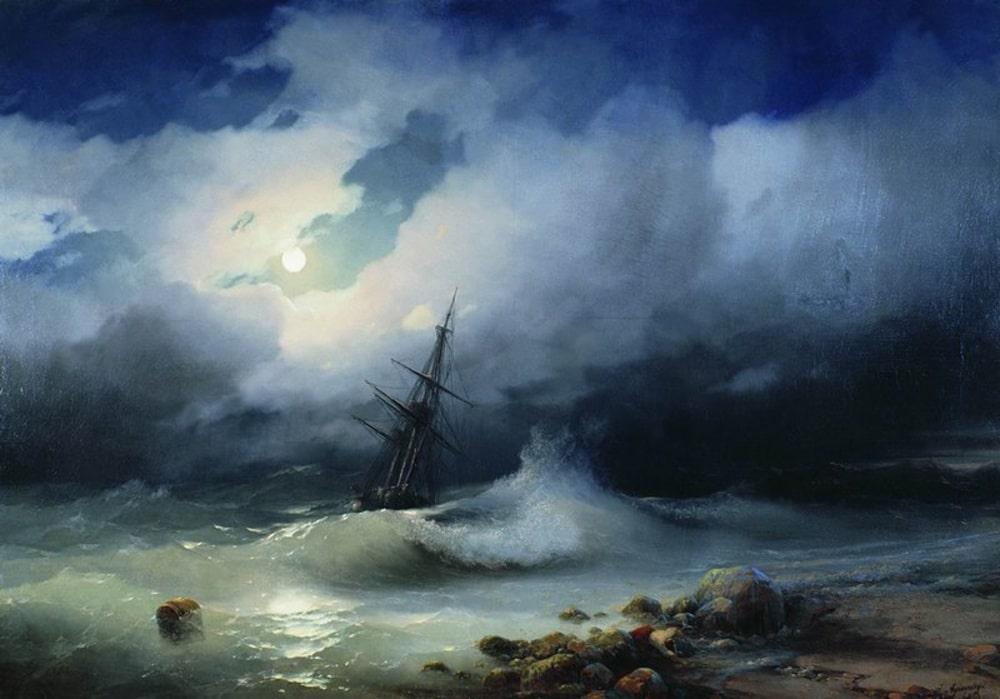 Бурное море ночью, 1853 г.