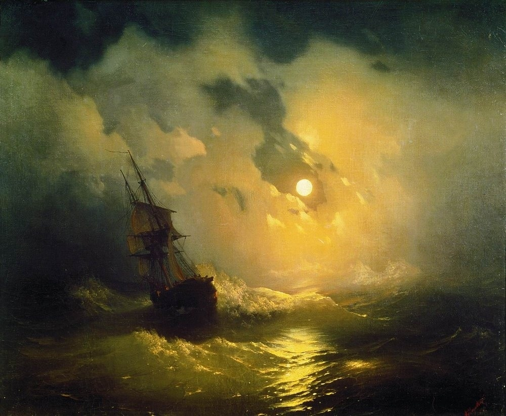 Буря на море ночью, 1849