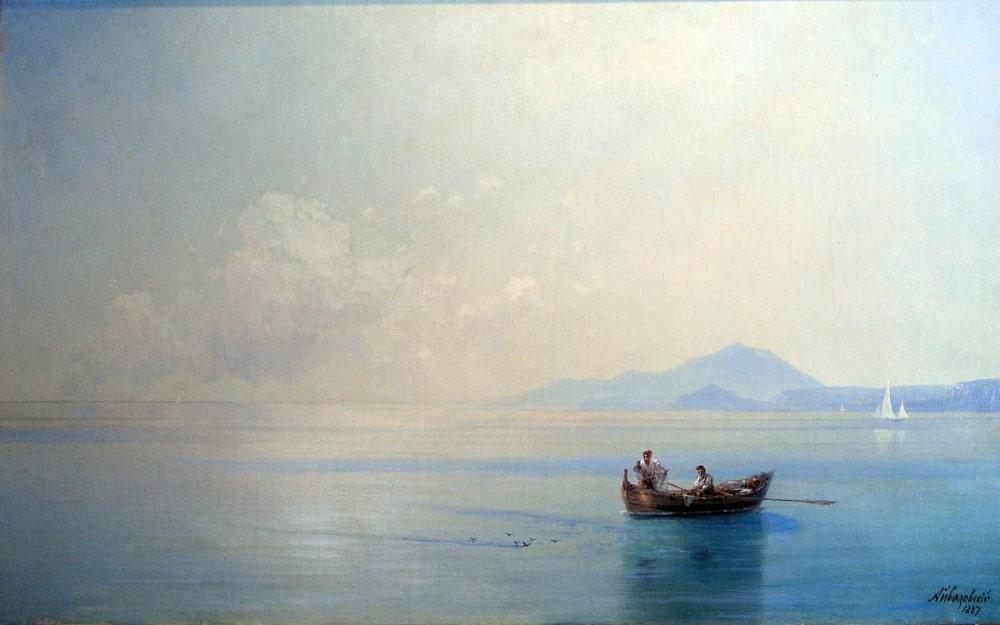 Штиль. Морской пейзаж с рыбаками, 1887 г.