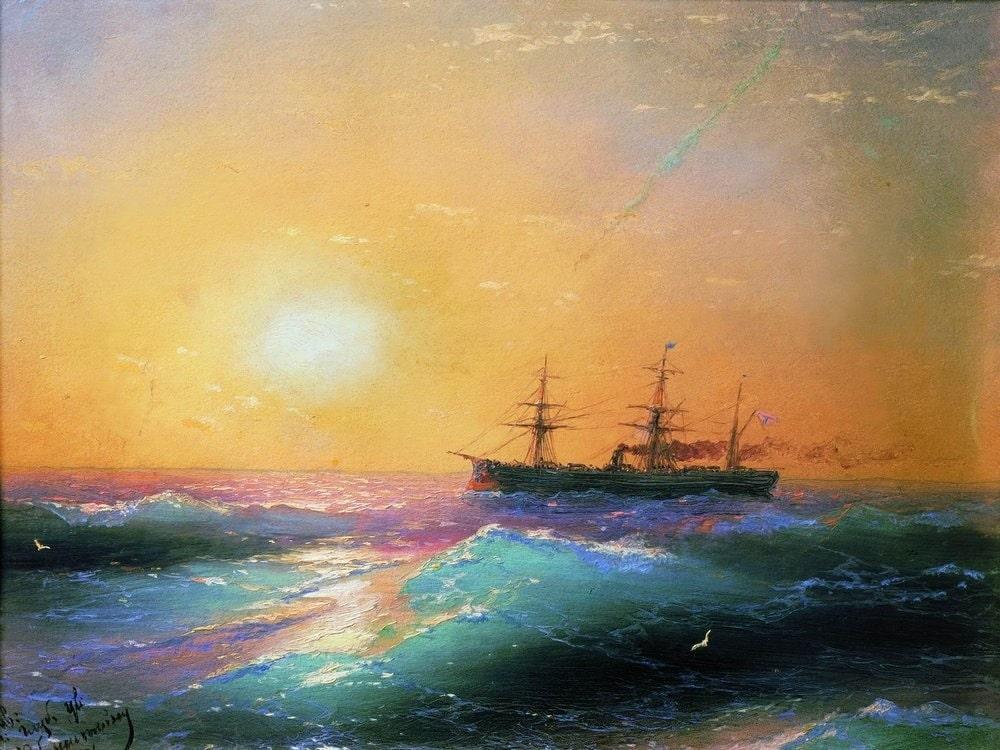 Закат на море, 1886 г