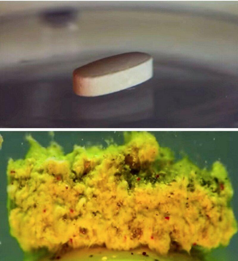 полурастворенная таблетка