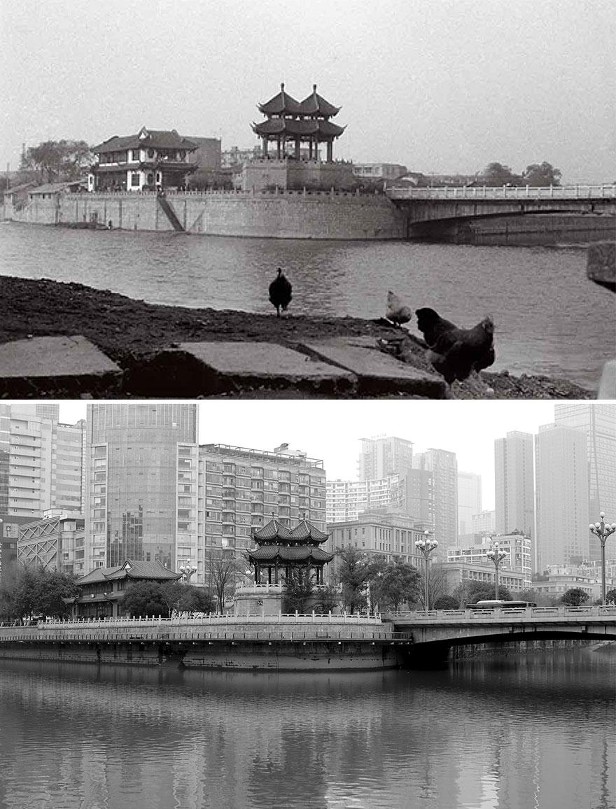 Город Чэнду в 1994 и 2016 годах