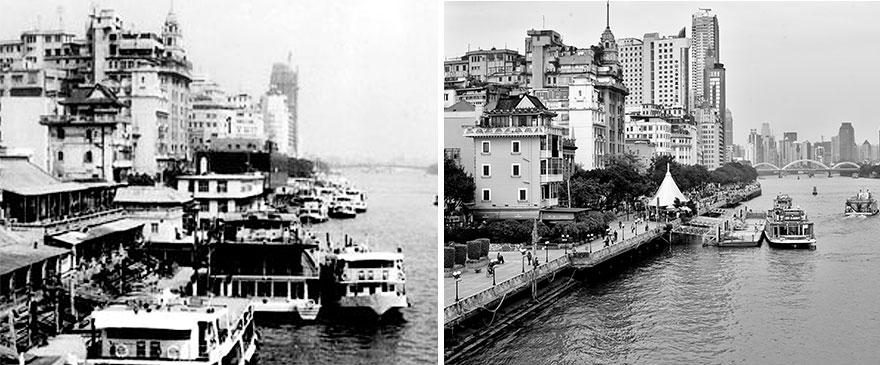 Город Гуанчжоу в 1970 и 2016 годах