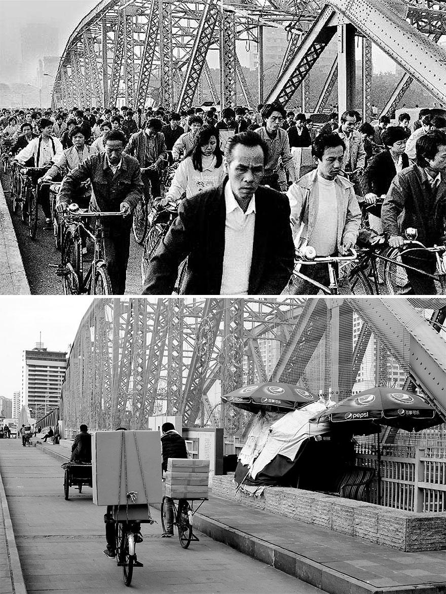 Город Гуанчжоу в 1980 и 2016 годах