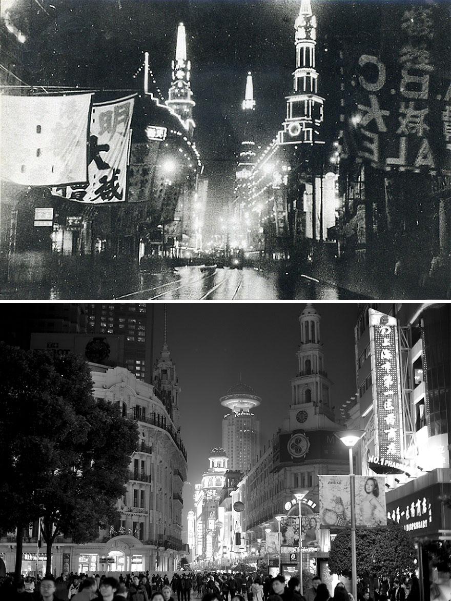 Нанкинская улица в 1940 и 2016 годах