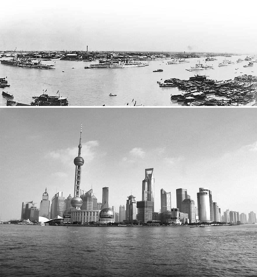 Шанхай в 1920 и 2016 годах