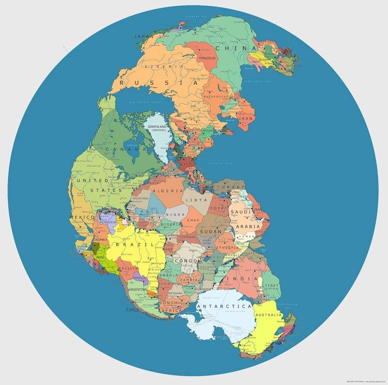 Карта Пангеи с текущими международными границами