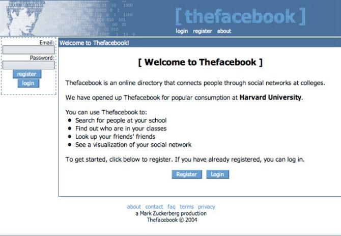 Facebook в 2004 году